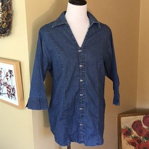 QUIZZ WOMAN sz 18 denim stretch top